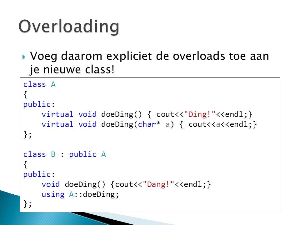  Voeg daarom expliciet de overloads toe aan je nieuwe class.