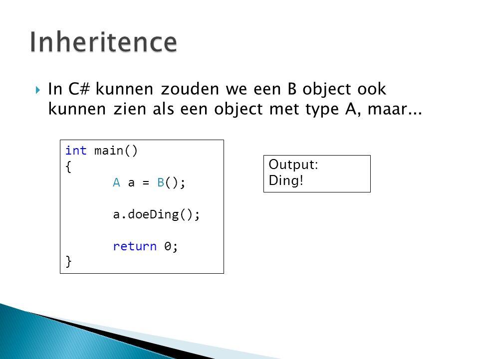  In C# kunnen zouden we een B object ook kunnen zien als een object met type A, maar...