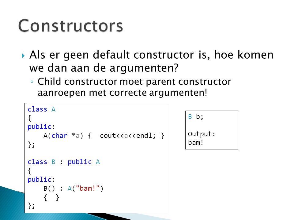  Als er geen default constructor is, hoe komen we dan aan de argumenten.