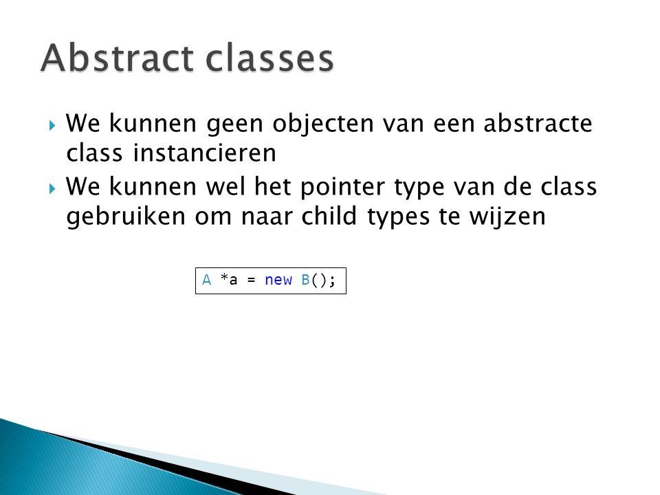  We kunnen geen objecten van een abstracte class instancieren  We kunnen wel het pointer type van de class gebruiken om naar child types te wijzen A *a = new B();