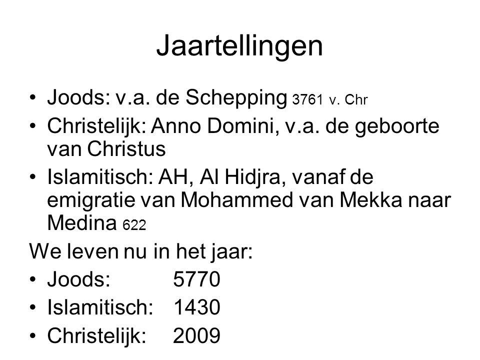 Jaartellingen Joods: v.a. de Schepping 3761 v. Chr Christelijk: Anno Domini, v.a. de geboorte van Christus Islamitisch: AH, Al Hidjra, vanaf de emigra