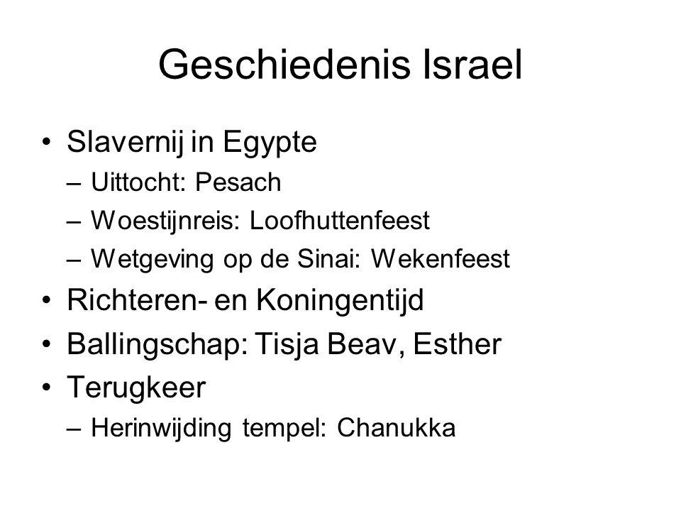Geschiedenis Israel Slavernij in Egypte –Uittocht: Pesach –Woestijnreis: Loofhuttenfeest –Wetgeving op de Sinai: Wekenfeest Richteren- en Koningentijd