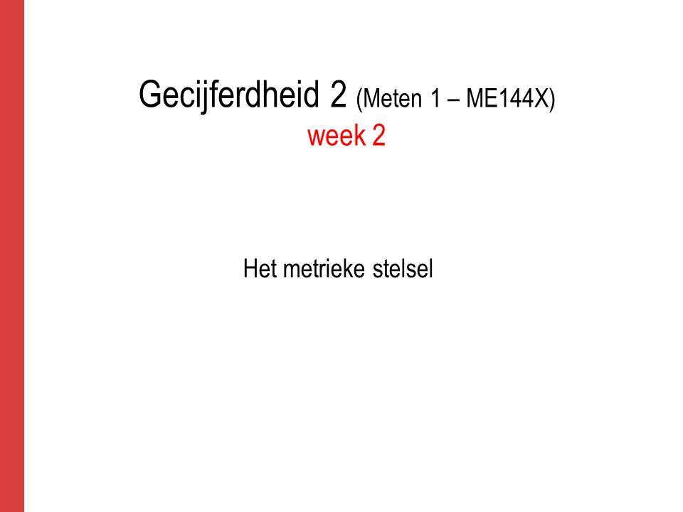 Gecijferdheid 2 (Meten 1 – ME144X) week 2 Het metrieke stelsel