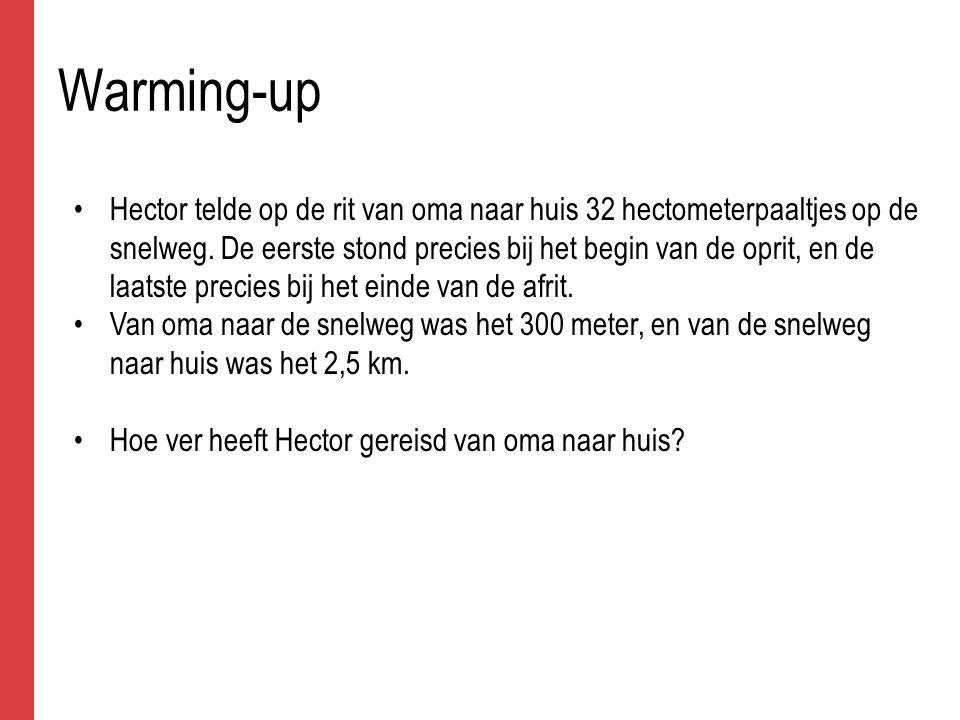 Warming-up antwoord Als Hector 32 hectometerpaaltjes heeft geteld, heeft hij 3100 meter afgelegd (niet 3200 m!!), ofwel 3,1 km.