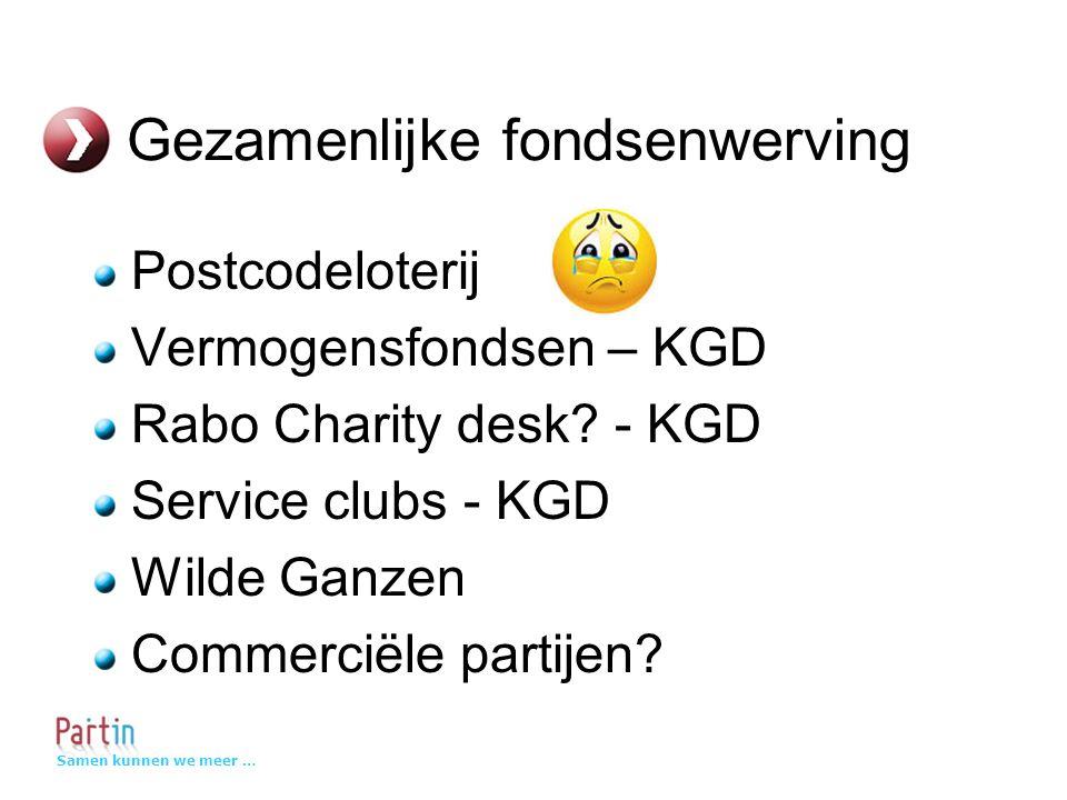 Samen kunnen we meer … Gezamenlijke fondsenwerving Postcodeloterij Vermogensfondsen – KGD Rabo Charity desk.