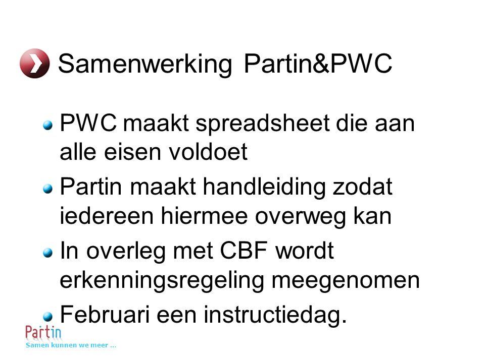 Samen kunnen we meer … Samenwerking Partin&PWC PWC maakt spreadsheet die aan alle eisen voldoet Partin maakt handleiding zodat iedereen hiermee overweg kan In overleg met CBF wordt erkenningsregeling meegenomen Februari een instructiedag.