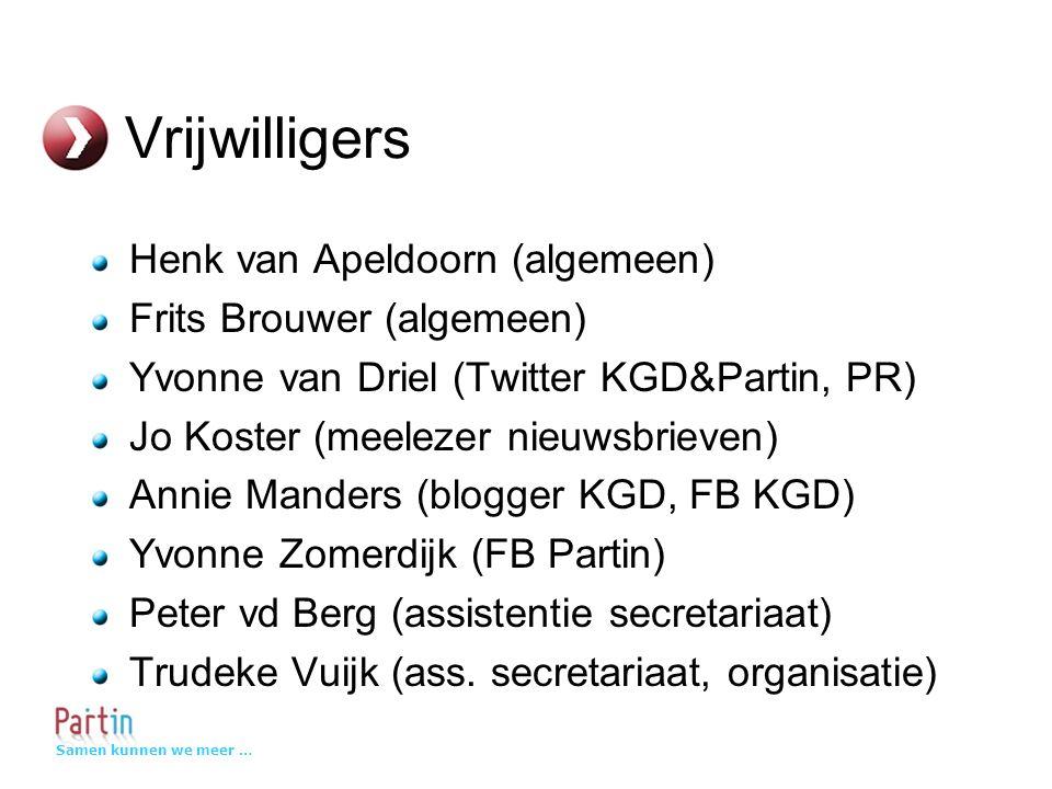 Samen kunnen we meer … Vrijwilligers Henk van Apeldoorn (algemeen) Frits Brouwer (algemeen) Yvonne van Driel (Twitter KGD&Partin, PR) Jo Koster (meelezer nieuwsbrieven) Annie Manders (blogger KGD, FB KGD) Yvonne Zomerdijk (FB Partin) Peter vd Berg (assistentie secretariaat) Trudeke Vuijk (ass.