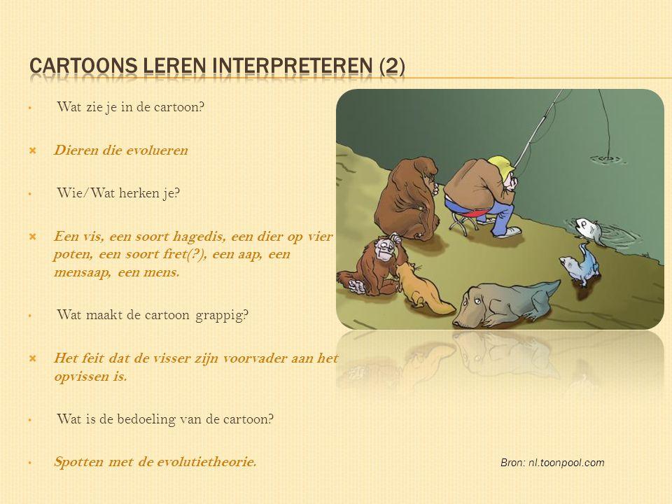 Wat zie je in de cartoon.  Dieren die evolueren Wie/Wat herken je.