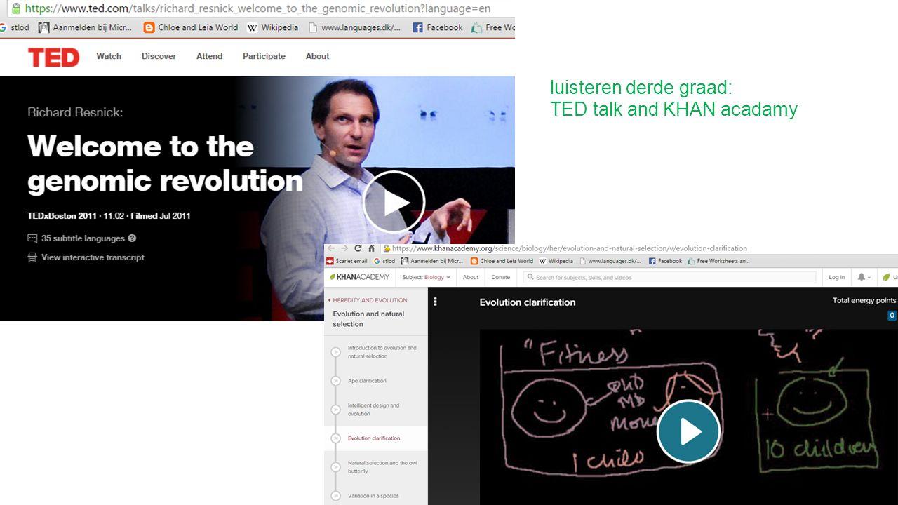 luisteren derde graad: TED talk and KHAN acadamy