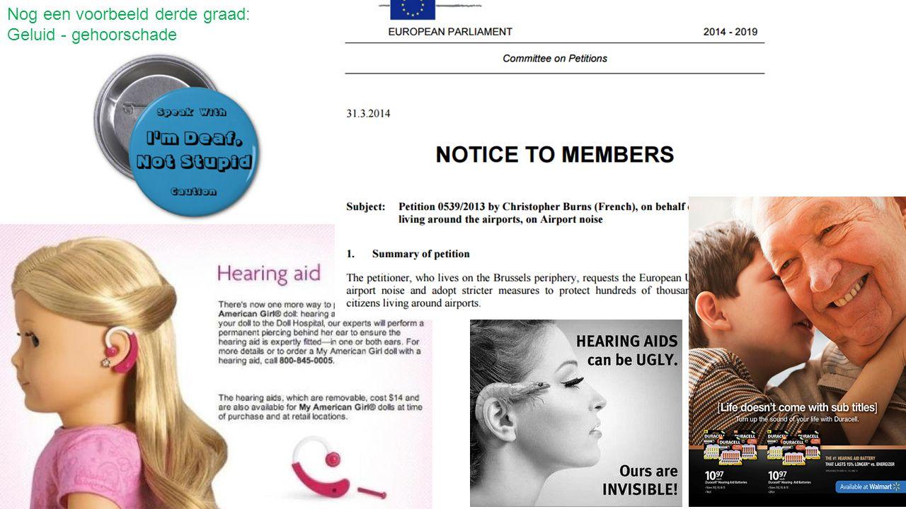 Nog een voorbeeld derde graad: Geluid - gehoorschade