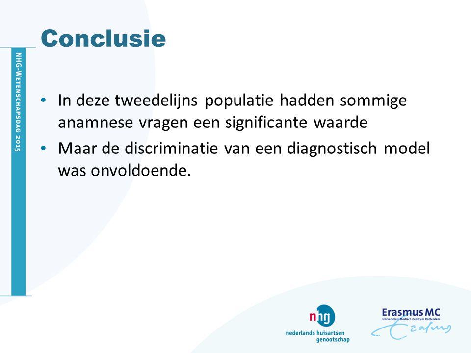 Conclusie In deze tweedelijns populatie hadden sommige anamnese vragen een significante waarde Maar de discriminatie van een diagnostisch model was on