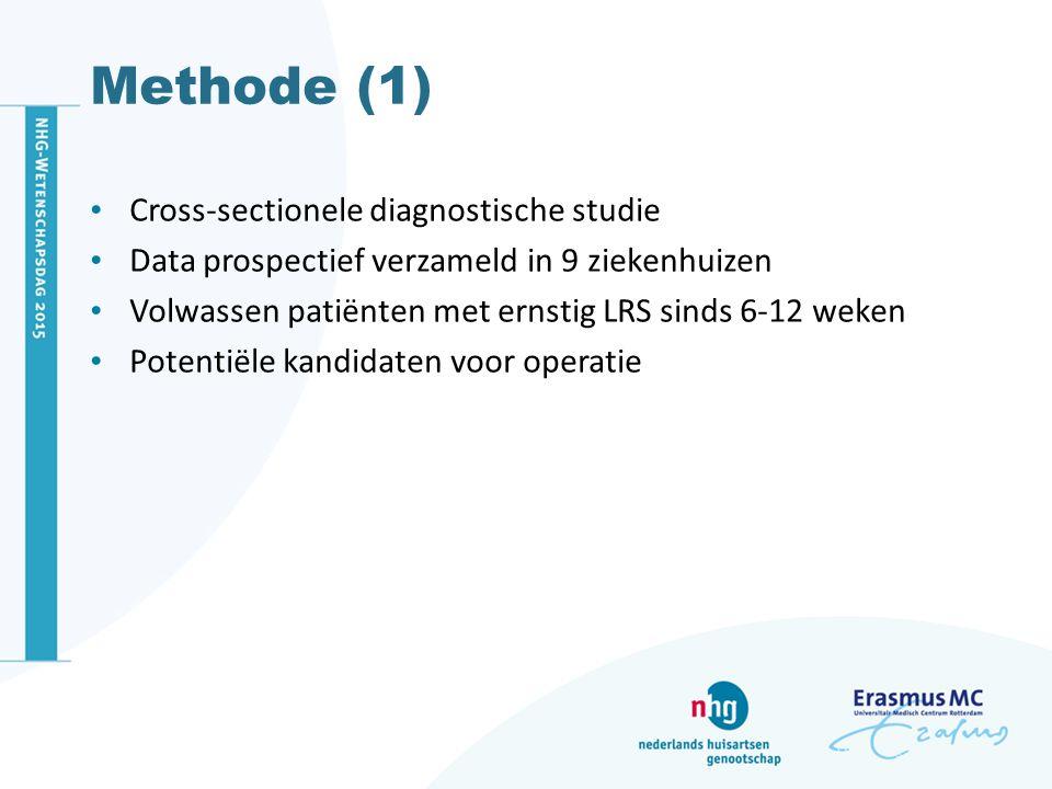 Methode (1) Cross-sectionele diagnostische studie Data prospectief verzameld in 9 ziekenhuizen Volwassen patiënten met ernstig LRS sinds 6-12 weken Po