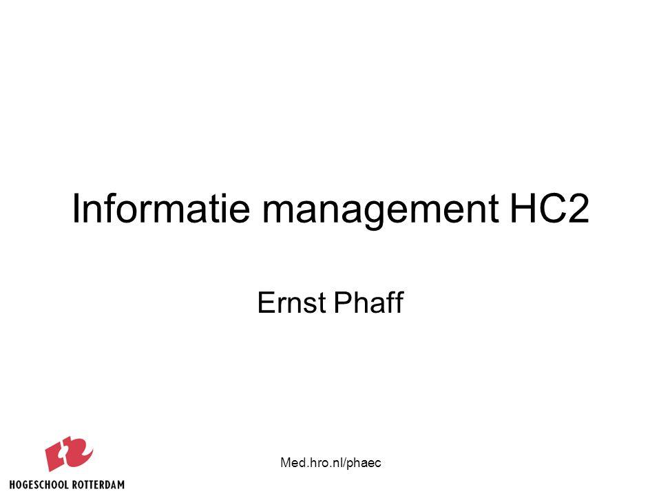 Med.hro.nl/phaec Informatie management HC2 Ernst Phaff
