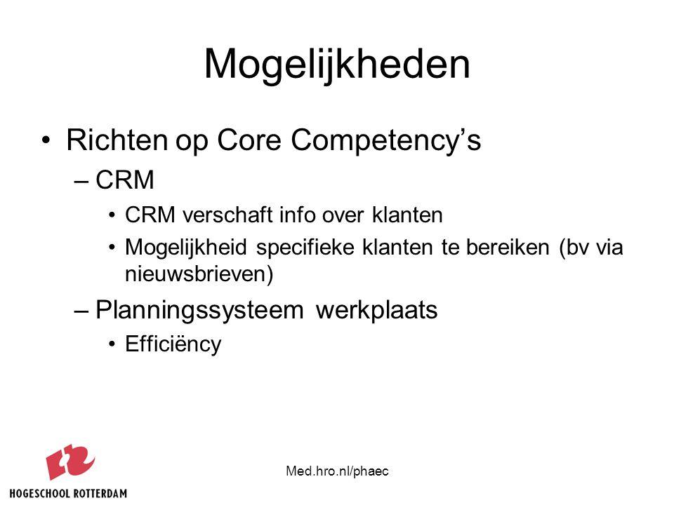 Med.hro.nl/phaec Mogelijkheden Richten op Core Competency's –CRM CRM verschaft info over klanten Mogelijkheid specifieke klanten te bereiken (bv via n