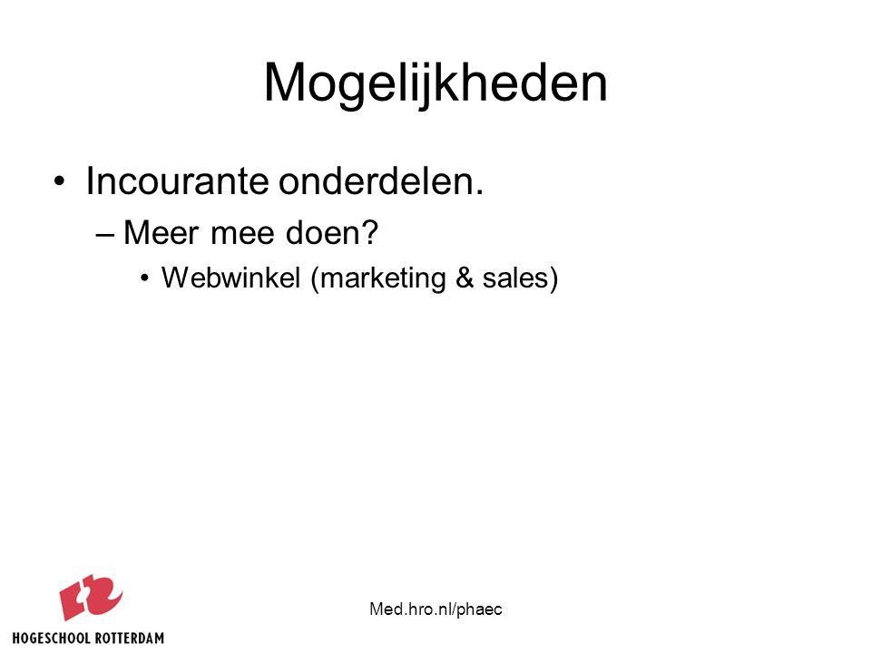Mogelijkheden Incourante onderdelen. –Meer mee doen? Webwinkel (marketing & sales)