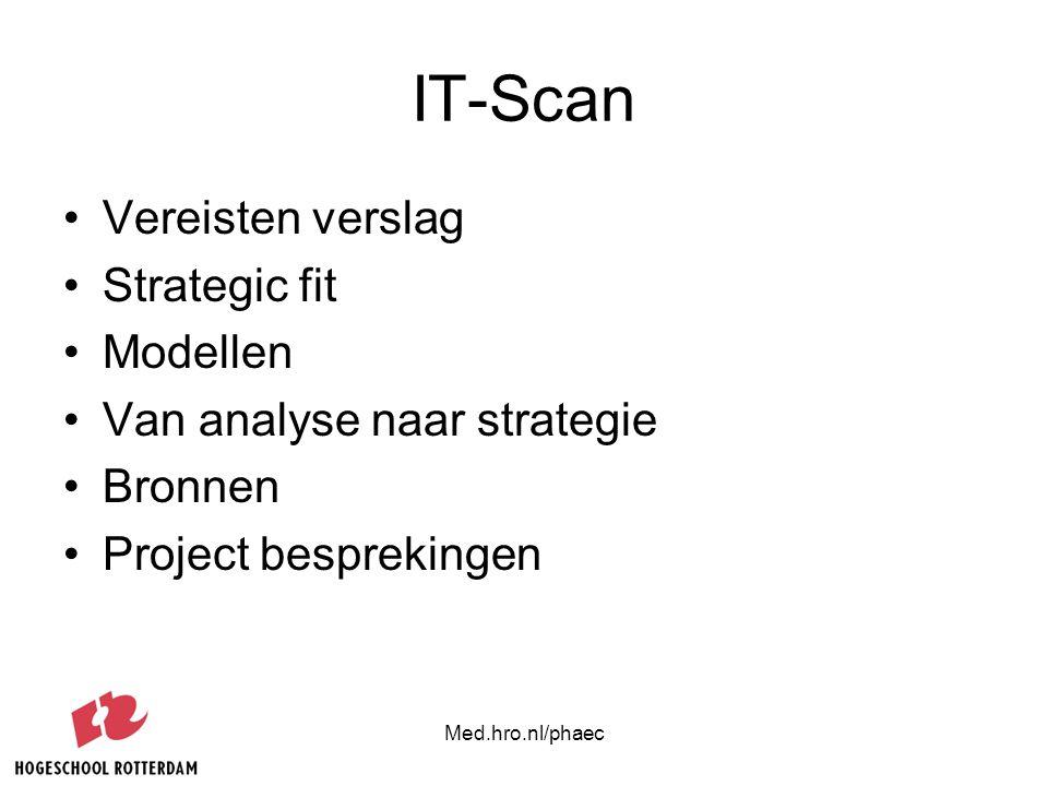 Med.hro.nl/phaec Probleemstelling Hoe kan Informatie technologie bijdragen aan het succes van een bedrijf?