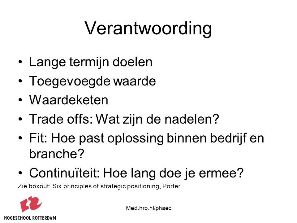 Med.hro.nl/phaec Verantwoording Lange termijn doelen Toegevoegde waarde Waardeketen Trade offs: Wat zijn de nadelen? Fit: Hoe past oplossing binnen be