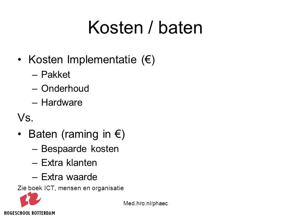 Med.hro.nl/phaec Kosten / baten Kosten Implementatie (€) –Pakket –Onderhoud –Hardware Vs. Baten (raming in €) –Bespaarde kosten –Extra klanten –Extra