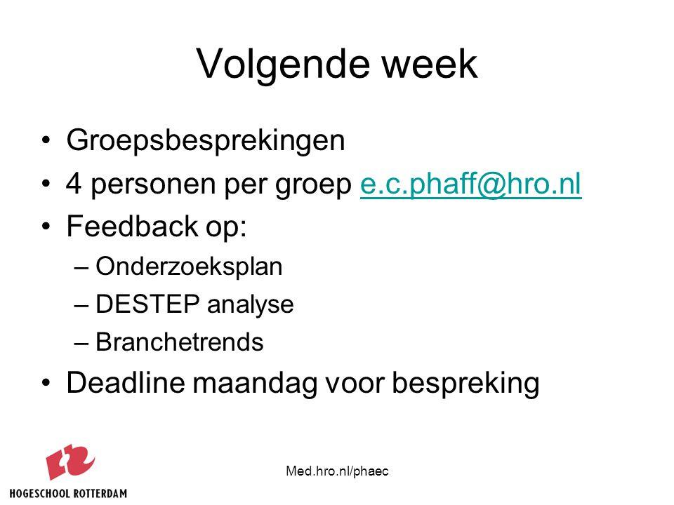 Med.hro.nl/phaec Volgende week Groepsbesprekingen 4 personen per groep e.c.phaff@hro.nle.c.phaff@hro.nl Feedback op: –Onderzoeksplan –DESTEP analyse –
