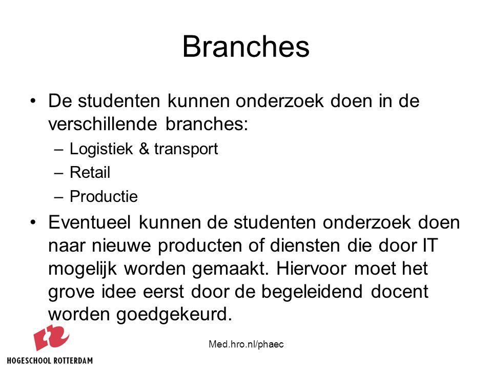 Med.hro.nl/phaec Branches De studenten kunnen onderzoek doen in de verschillende branches: –Logistiek & transport –Retail –Productie Eventueel kunnen