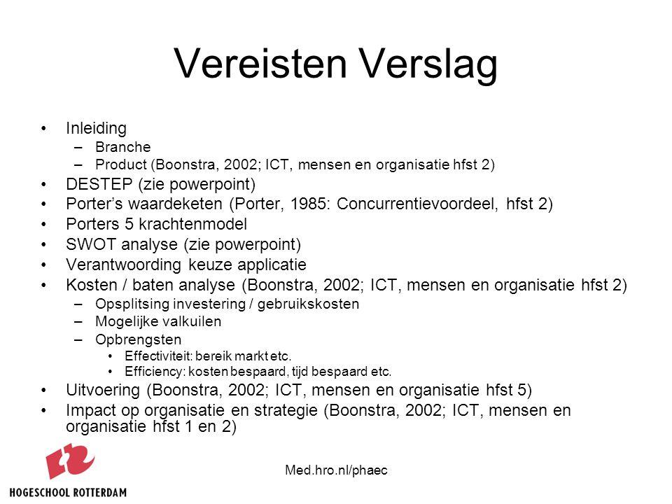Med.hro.nl/phaec Vereisten Verslag Inleiding –Branche –Product (Boonstra, 2002; ICT, mensen en organisatie hfst 2) DESTEP (zie powerpoint) Porter's wa
