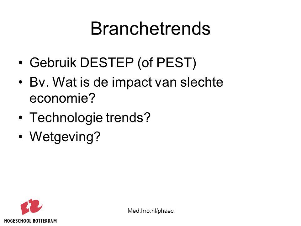 Med.hro.nl/phaec Branchetrends Gebruik DESTEP (of PEST) Bv. Wat is de impact van slechte economie? Technologie trends? Wetgeving?