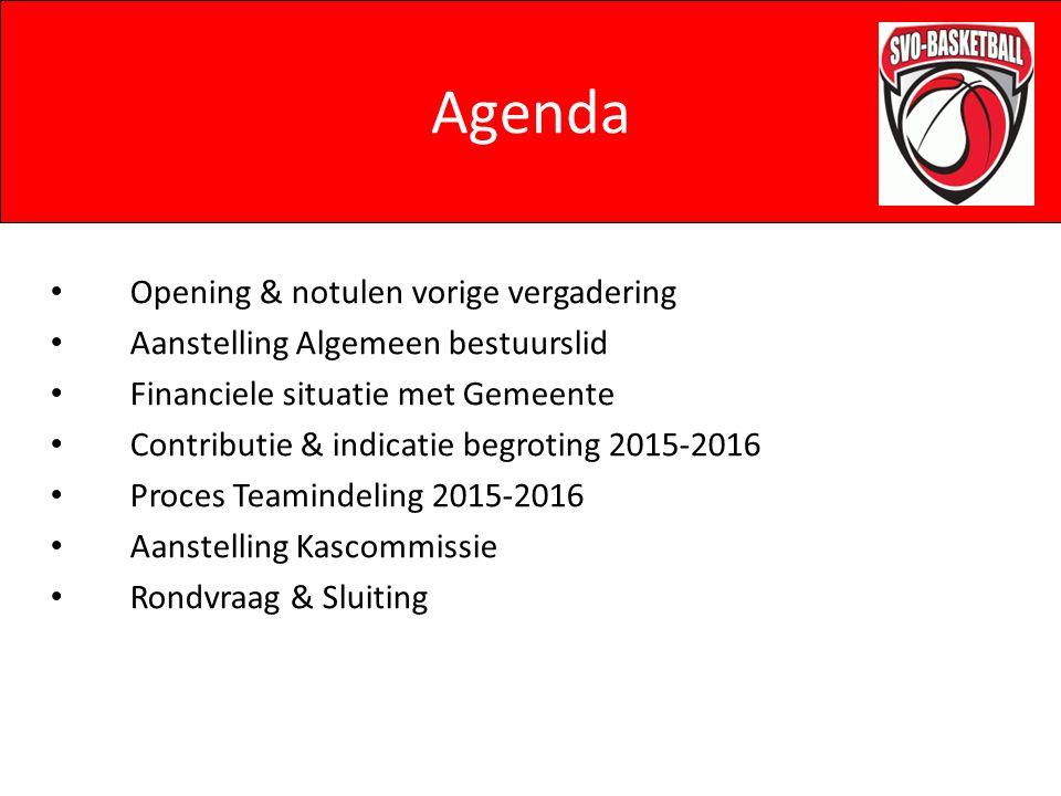 Agenda Opening & notulen vorige vergadering Aanstelling Algemeen bestuurslid Financiele situatie met Gemeente Contributie & indicatie begroting 2015-2