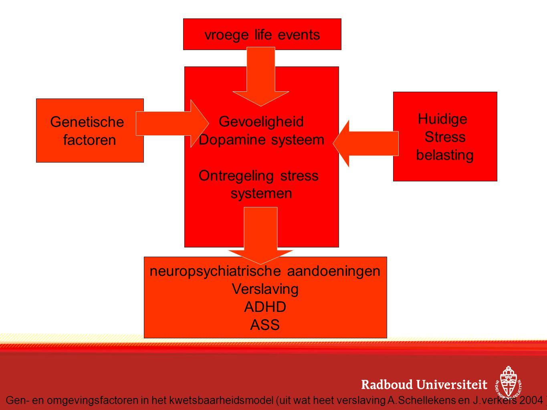 Genetische factoren Huidige Stress belasting vroege life events Gevoeligheid Dopamine systeem Ontregeling stress systemen neuropsychiatrische aandoeni