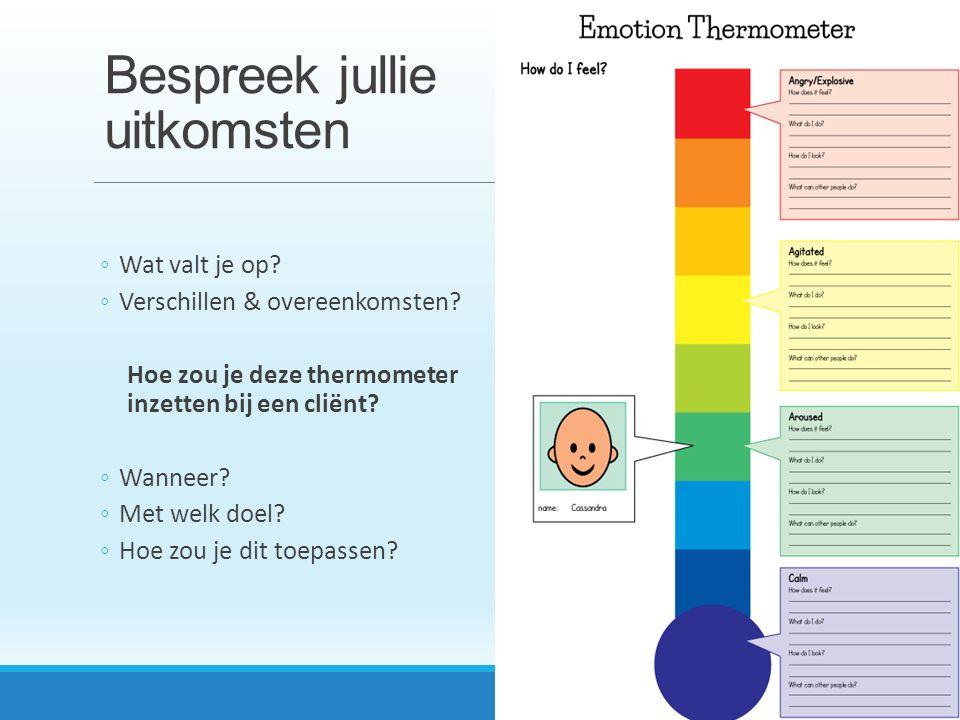 Bespreek jullie uitkomsten ◦Wat valt je op? ◦Verschillen & overeenkomsten? Hoe zou je deze thermometer inzetten bij een cliënt? ◦Wanneer? ◦Met welk do