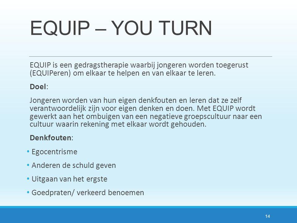 EQUIP – YOU TURN EQUIP is een gedragstherapie waarbij jongeren worden toegerust (EQUIPeren) om elkaar te helpen en van elkaar te leren. Doel: Jongeren