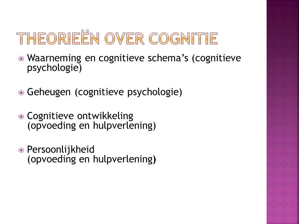  Waarneming en cognitieve schema's (cognitieve psychologie)  Geheugen (cognitieve psychologie)  Cognitieve ontwikkeling (opvoeding en hulpverlening)  Persoonlijkheid (opvoeding en hulpverlening)