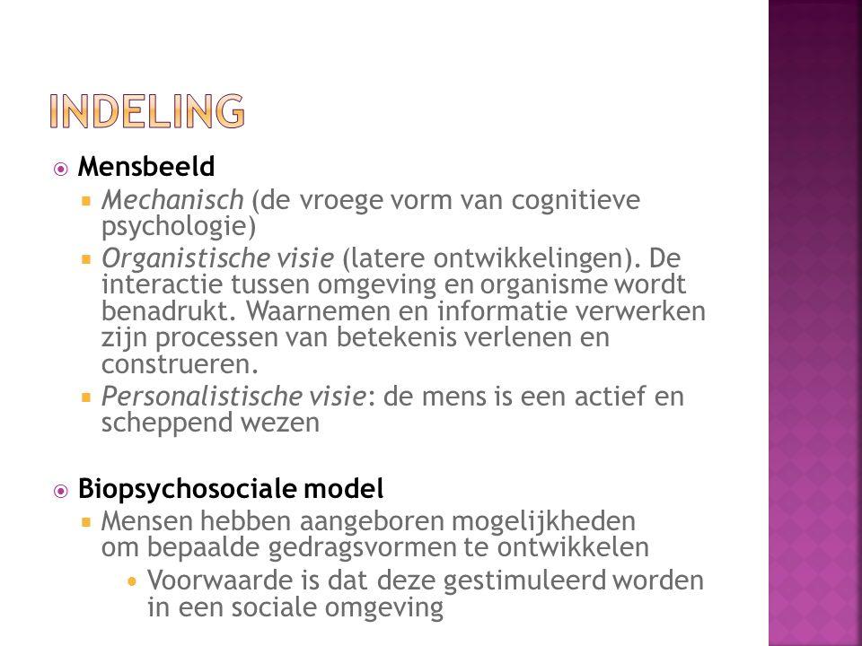  Mensbeeld  Mechanisch (de vroege vorm van cognitieve psychologie)  Organistische visie (latere ontwikkelingen).