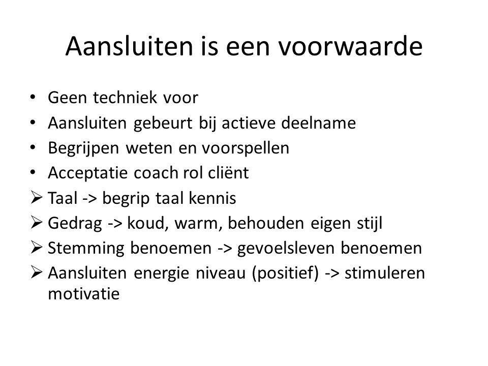 Aansluiten is een voorwaarde Geen techniek voor Aansluiten gebeurt bij actieve deelname Begrijpen weten en voorspellen Acceptatie coach rol cliënt  T