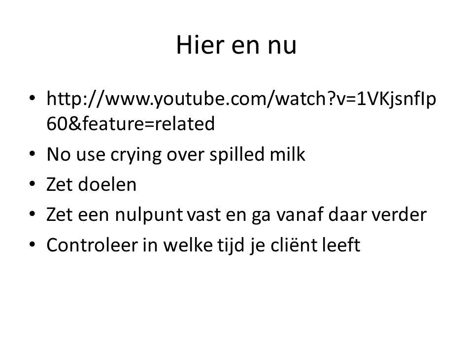 Hier en nu http://www.youtube.com/watch?v=1VKjsnfIp 60&feature=related No use crying over spilled milk Zet doelen Zet een nulpunt vast en ga vanaf daa
