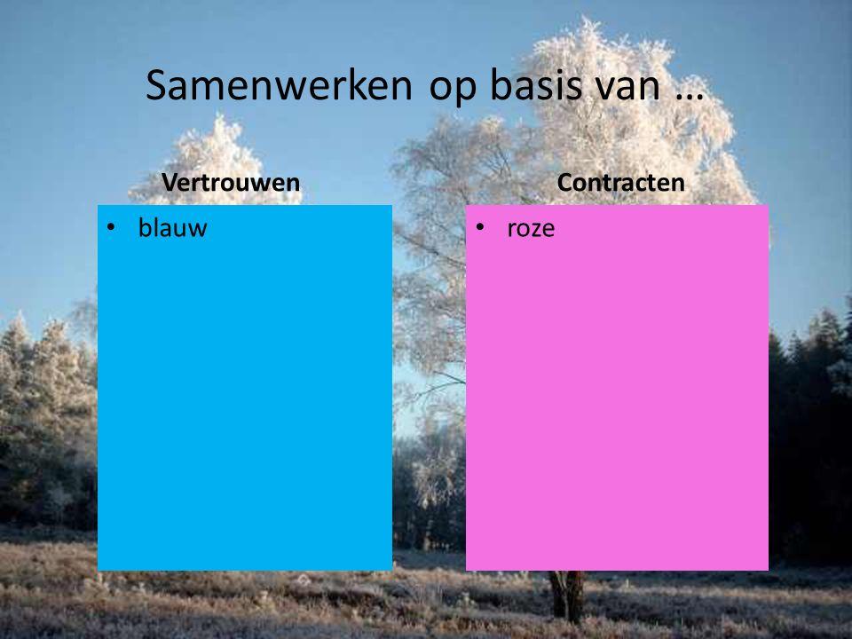 Samenwerken op basis van … Vertrouwen blauw Contracten roze