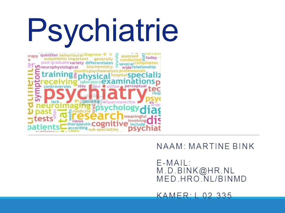 Voor volgende keer Week 5 Presentatie: Schizofrenie Dissociatieve, somatoforme en nagebootste stoornissen Hoofdstuk 12 Nevid