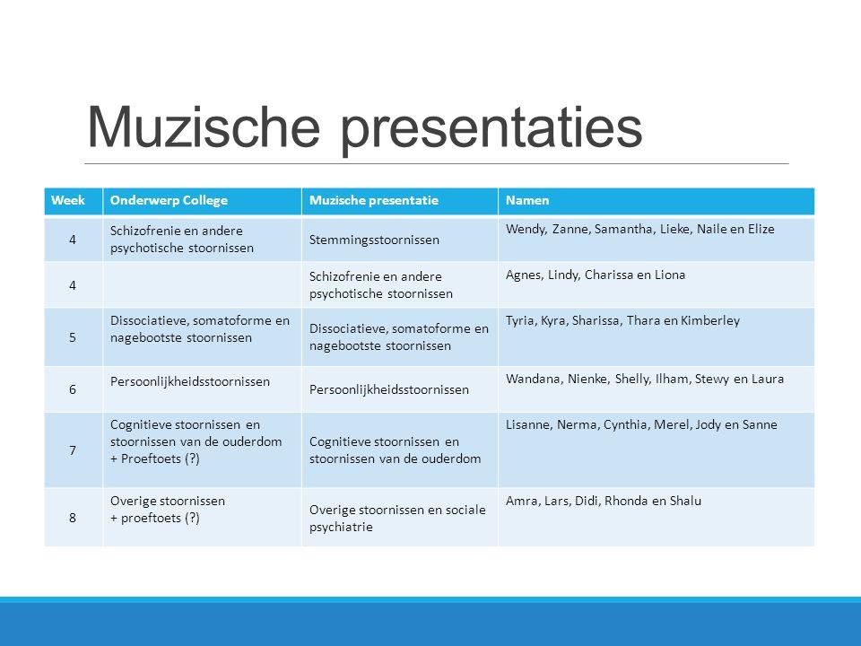 Muzische presentaties WeekOnderwerp CollegeMuzische presentatieNamen 4 Schizofrenie en andere psychotische stoornissen Stemmingsstoornissen Wendy, Zan