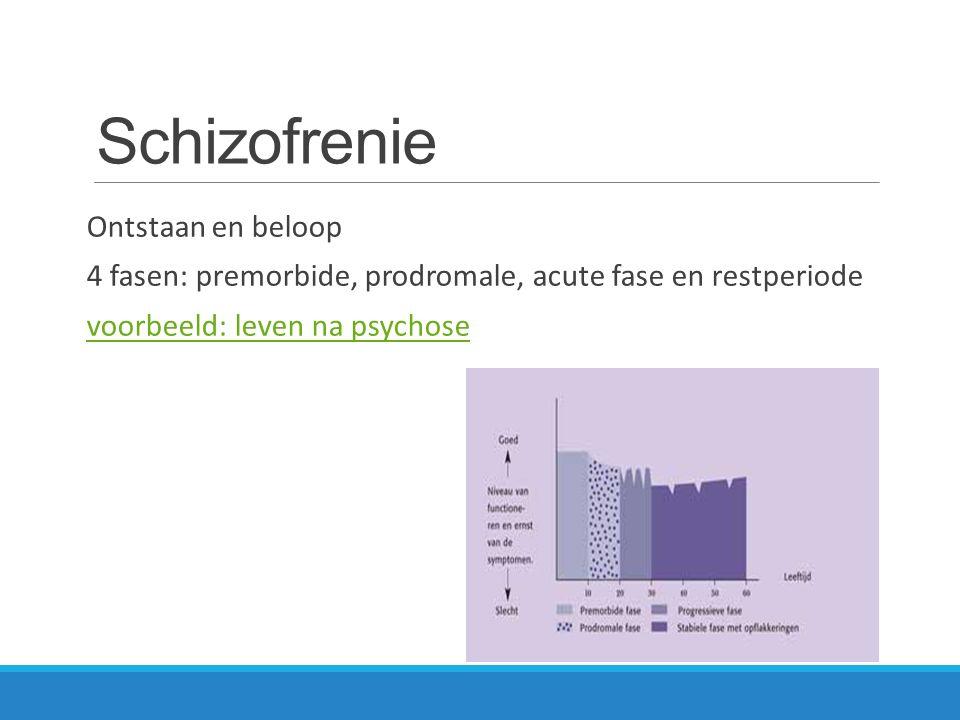 Schizofrenie Ontstaan en beloop 4 fasen: premorbide, prodromale, acute fase en restperiode voorbeeld: leven na psychose
