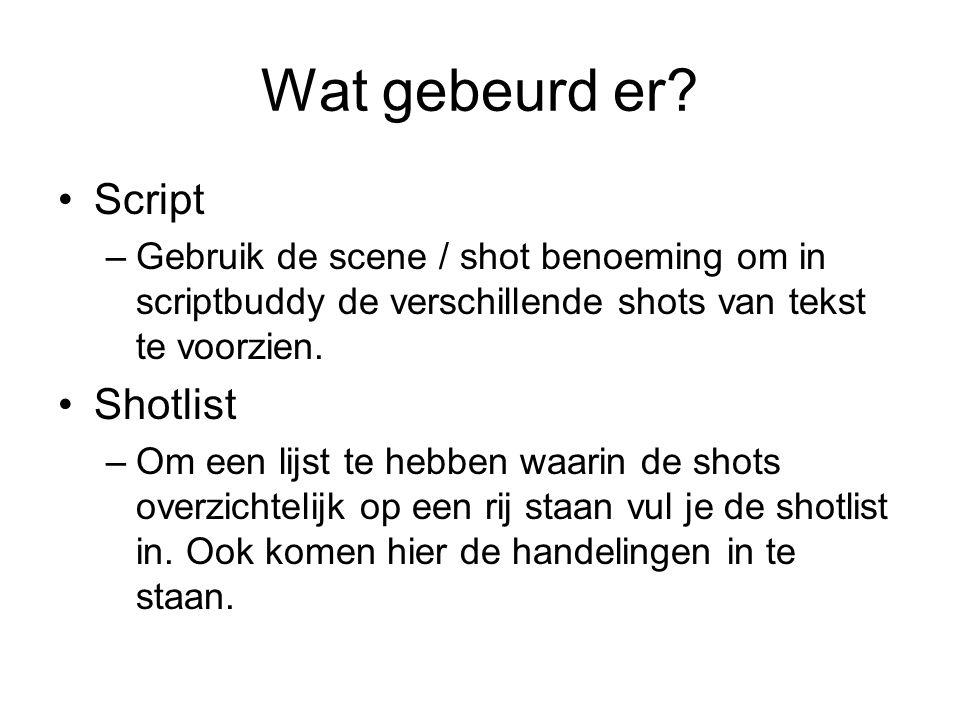 Wat gebeurd er? Script –Gebruik de scene / shot benoeming om in scriptbuddy de verschillende shots van tekst te voorzien. Shotlist –Om een lijst te he