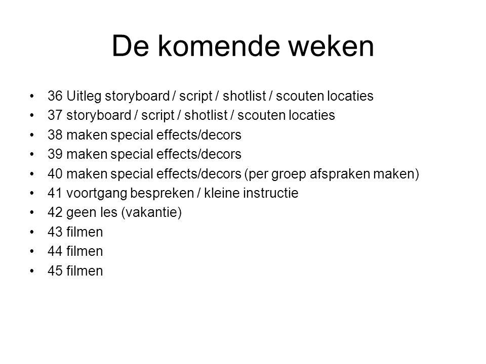 De komende weken 36 Uitleg storyboard / script / shotlist / scouten locaties 37 storyboard / script / shotlist / scouten locaties 38 maken special eff