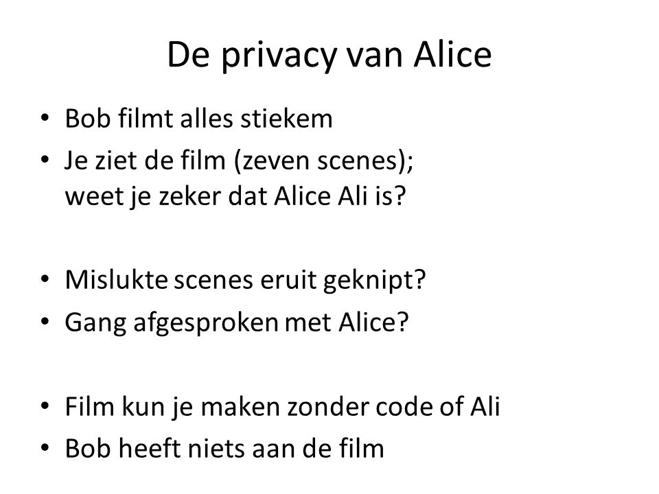 De privacy van Alice Bob filmt alles stiekem Je ziet de film (zeven scenes); weet je zeker dat Alice Ali is? Mislukte scenes eruit geknipt? Gang afges