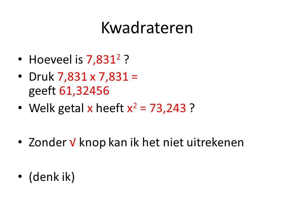 Kwadrateren Hoeveel is 7,831 2 ? Druk 7,831 x 7,831 = geeft 61,32456 Welk getal x heeft x 2 = 73,243 ? Zonder √ knop kan ik het niet uitrekenen (denk