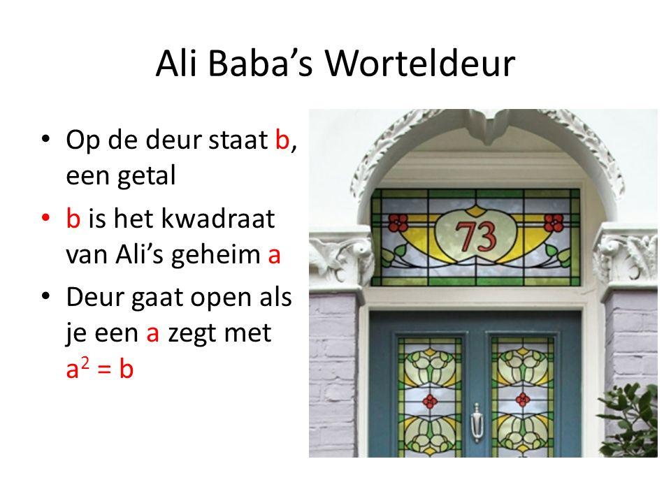 Ali Baba's Worteldeur Op de deur staat b, een getal b is het kwadraat van Ali's geheim a Deur gaat open als je een a zegt met a 2 = b