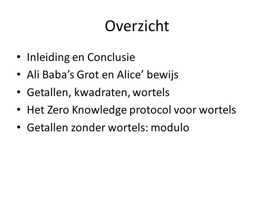 Overzicht Inleiding en Conclusie Ali Baba's Grot en Alice' bewijs Getallen, kwadraten, wortels Het Zero Knowledge protocol voor wortels Getallen zonde