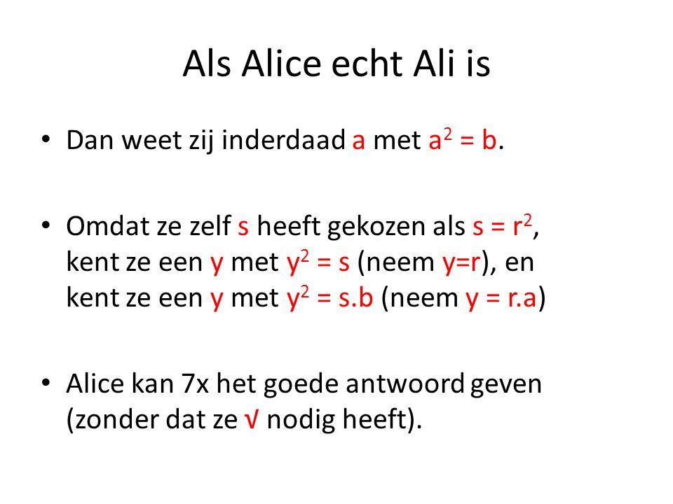 Als Alice echt Ali is Dan weet zij inderdaad a met a 2 = b. Omdat ze zelf s heeft gekozen als s = r 2, kent ze een y met y 2 = s (neem y=r), en kent z