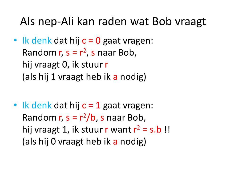 Als nep-Ali kan raden wat Bob vraagt Ik denk dat hij c = 0 gaat vragen: Random r, s = r 2, s naar Bob, hij vraagt 0, ik stuur r (als hij 1 vraagt heb