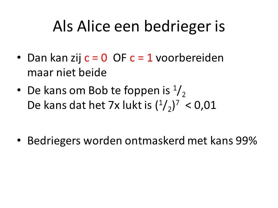 Als Alice een bedrieger is Dan kan zij c = 0 OF c = 1 voorbereiden maar niet beide De kans om Bob te foppen is 1 / 2 De kans dat het 7x lukt is ( 1 /