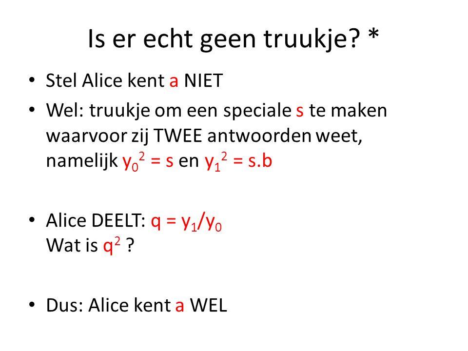 Is er echt geen truukje? * Stel Alice kent a NIET Wel: truukje om een speciale s te maken waarvoor zij TWEE antwoorden weet, namelijk y 0 2 = s en y 1