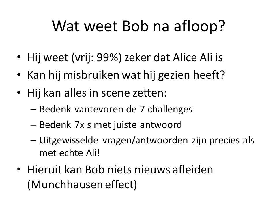Wat weet Bob na afloop? Hij weet (vrij: 99%) zeker dat Alice Ali is Kan hij misbruiken wat hij gezien heeft? Hij kan alles in scene zetten: – Bedenk v