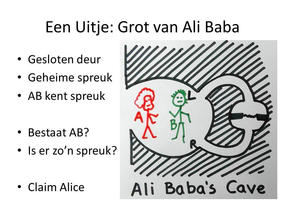 Een Uitje: Grot van Ali Baba Gesloten deur Geheime spreuk AB kent spreuk Bestaat AB? Is er zo'n spreuk? Claim Alice